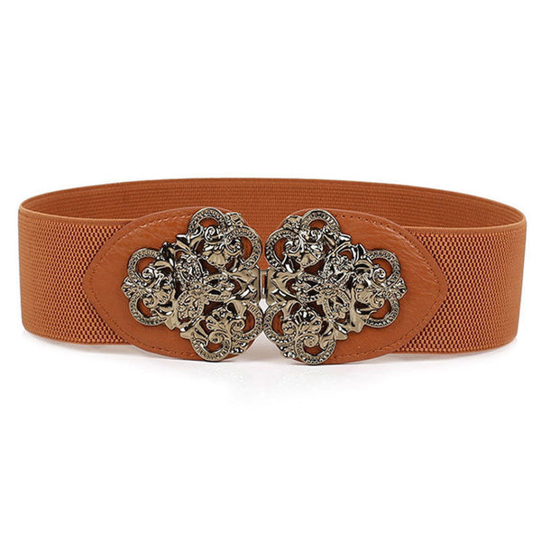 Ladies Flower Meshed Buckle Elastic Belt Hip Belt Waistband-Brown W1E9