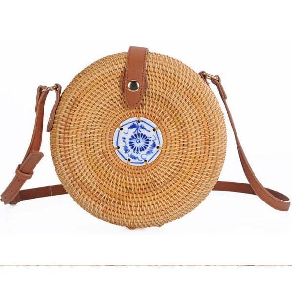 Fashion Brown Round Lady Handwoven Bag Rattan Straw Bohemia Style Beach Bags