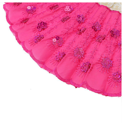 rose Red Spanish Embroidered Folding Sequins Hand Flower Lace Fan Party Wed N6N5