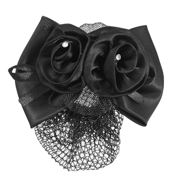 Women Black Polyester Bow Ribbon Metal Barrette Snood Net Bun Cover HairCl V3U1