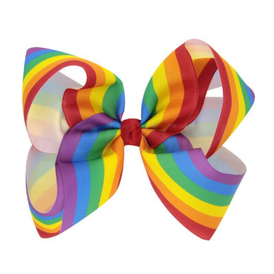 12Pcs Big Bow Hair Knot Clips Girls Ribbon Bows Kids Gradient Rainbow Clips