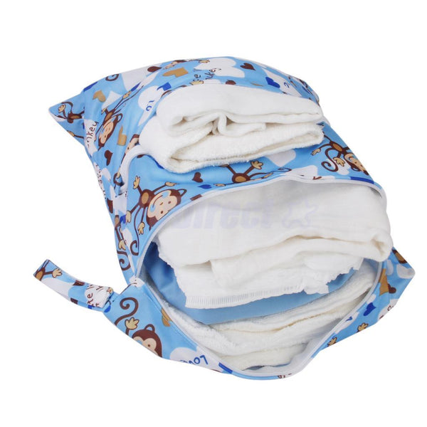 Blue Dual Pocket Zipper Baby Cloth Diaper Wet Dry Bag Swimer Tote w/ Monkey