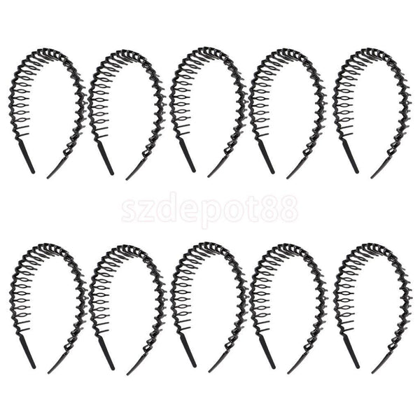 10pcs Woman Plastic Teeth Comb Hairband Narrow Hair Hoop Headband Black