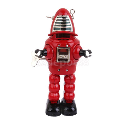 Wind Up RED Mechanical Sparking sparkling Space Forbidden planet tin ROBOT