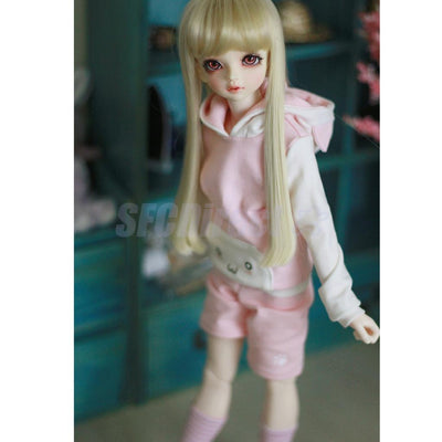 2 Sets/Lot Cat Ear Hoodie Top Pullover+ Pants +Stockings for 1/6 BJD SD DOD