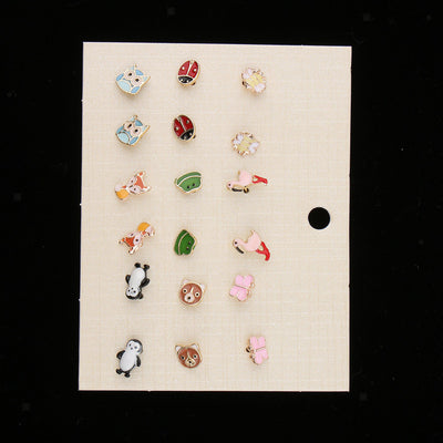 9 Pairs Animals Hypoallergenic Stud Earrings Set For Kids Girl Cute Ear Stud