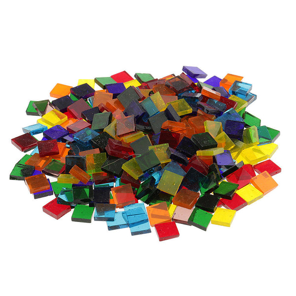 750pcs Mixed Clear Square Glass Mosaic Tiles Pieces for Decor Crafts Making