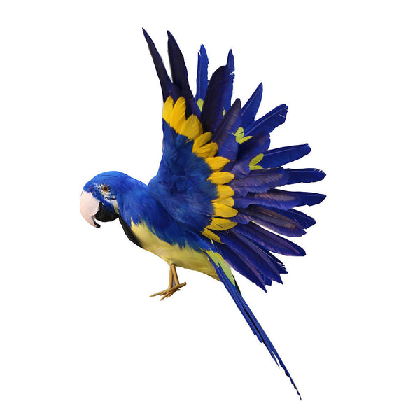 True to Nature Blue Parrot Artificial Feather Bird Handmade Christmas Gift