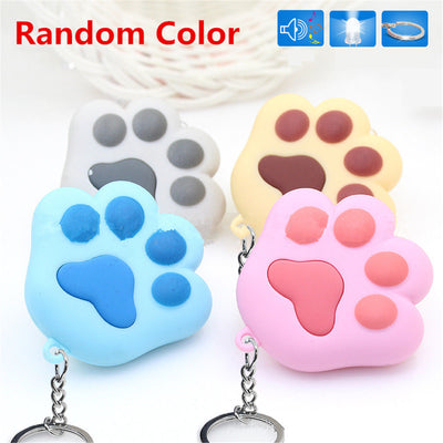Cute Cat Claw Keyring Glow LED Light Sound Keychain For Bag Phone Key Fob Acc