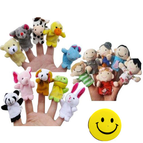 Story Time Finger Puppets 10 pcs Velvet Animal and 6 pcs Soft Plush  HY