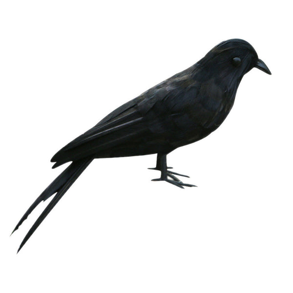 True to Nature Standing Crow Artificial Feather Bird Handmade Christmas Gift