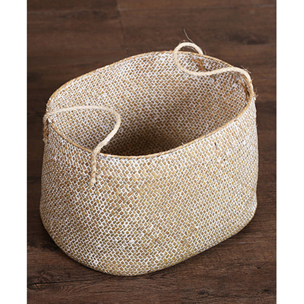Natural Seagrass Belly Basket with Handle Large Storage Laundry Basket White