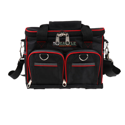 12 Inch 2-Layer Electrician Tool Bag Adjustable Belt and Larger Rubber Feet