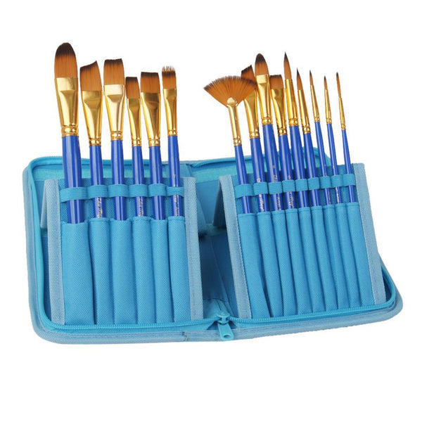 15pcs Pro Artist Painting Nylon Brushes with Pouch Bag -Blue Color