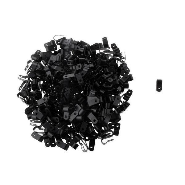 8.4mm Split Clamp Cat5 Cat6 R TYPE Cable Coaxial Wire Clips 1000PCS Black