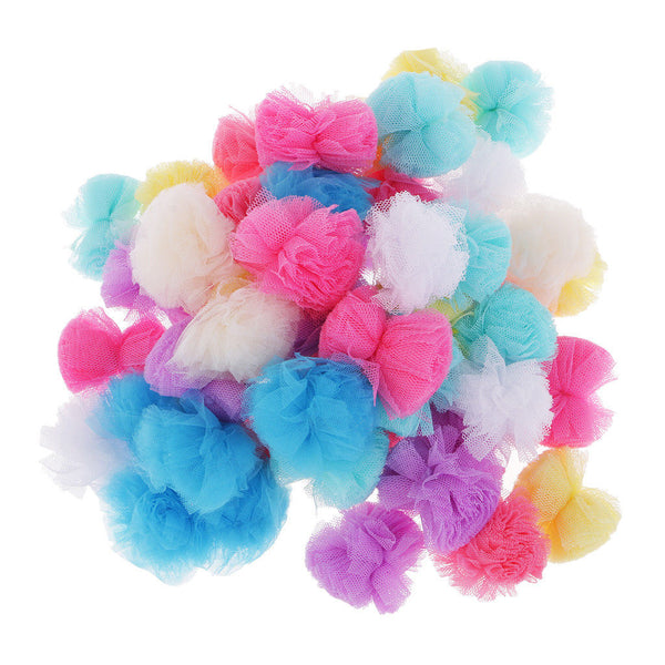 50pcs Mutilcolors Flower Pom Poms Ball for Kids Handicraft Creative Decoration