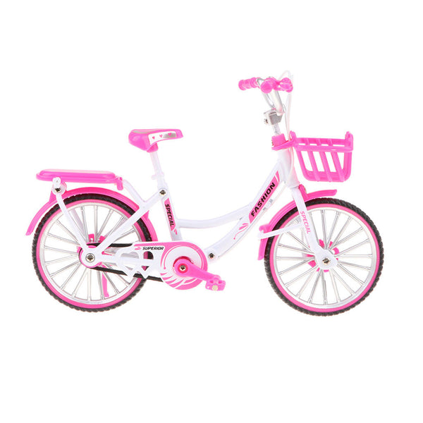 1:10 Pink Die-cast Metal BM-X mini Bicycle with Basket Collectible Presents
