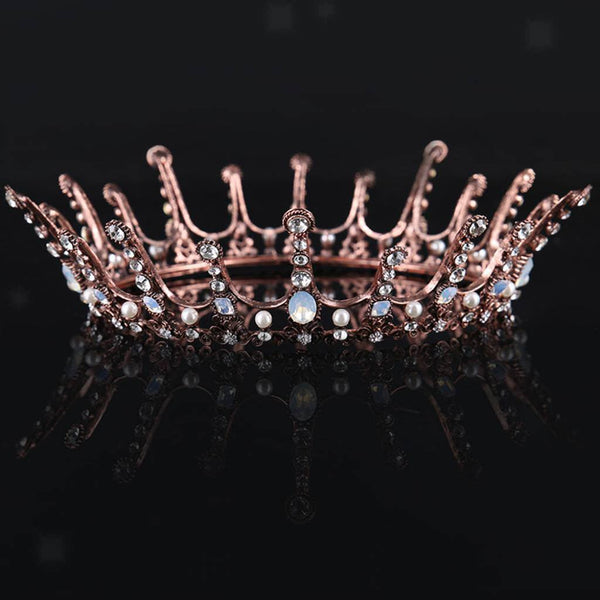 MagiDeal Luxury Crystal Queen King Crown Tiara Wedding Bridal Round Headband