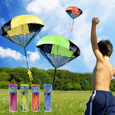 2x Mini Tangle Free Toys Parachute Man Skydiver for Kids Gifts, Orange+ Blue