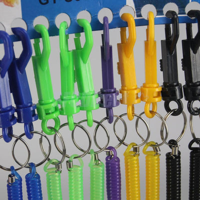 12Pcs Mixed Retractable Plastic Spring Spiral Keychain Key Ring Key Holder