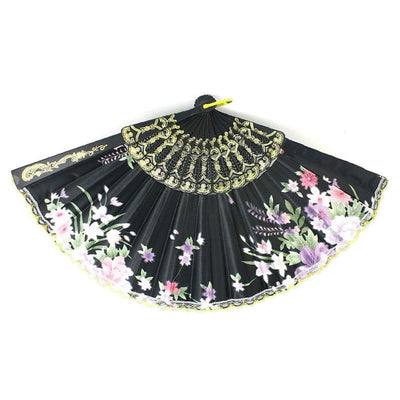 Plastic Frame Flower Pattern cloth Handheld Folding Fan Black E5A5 G1C6
