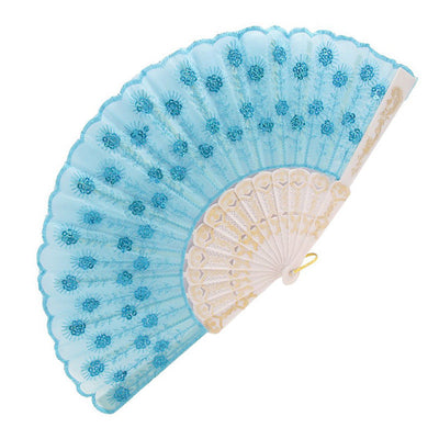 Plastic Rib Sequins Adorn Foldable Dancing Hand Fan sky blue,White T1I8