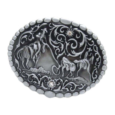 Western Jeans Cowboy Rodeo Team Roping A Bull Fashion Men Belt Buckle