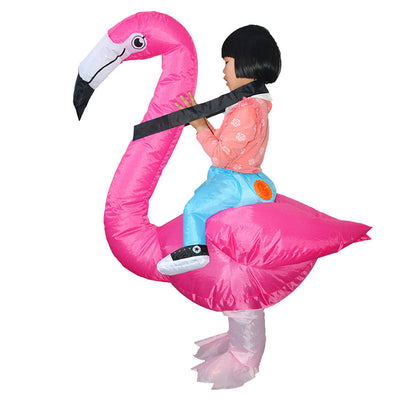 MagiDeal Inflatable Flamingo Rider Costume Kids Tropical Party Fancy Dress