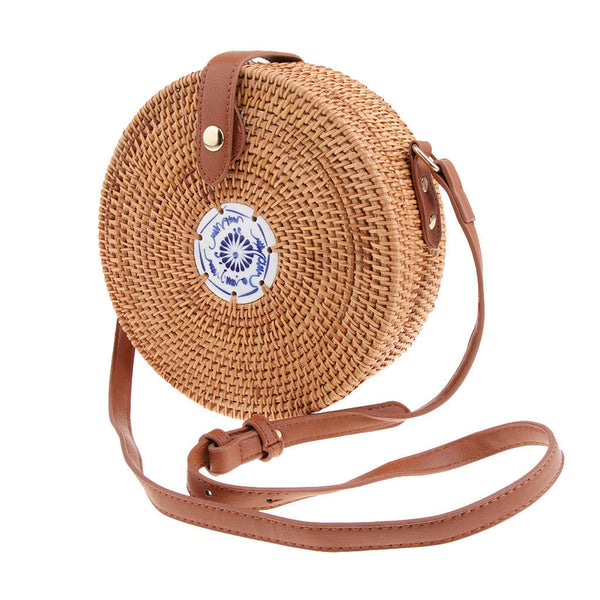 Handwoven Rattan Straw Bags Round Button Lock Design Tile Embellish Beach