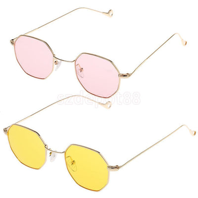 2pc Retro Mirrored Designer Octagon Sunglasses Flat Lens Eye Glasses Eyewear