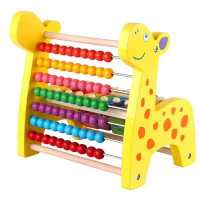 3 in 1 Kids Wooden Fawn Developmental Toys Number Blocks Abacus Beads Mazes