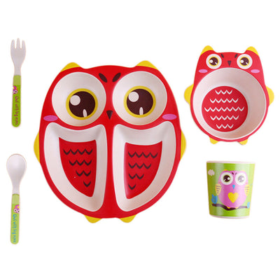 Children Bamboo Dinnerware Set- Divided Plate, Bowl, Cup, Fork & Spoon Red