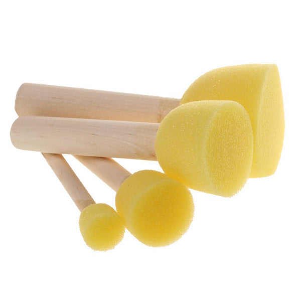 4 Kids Painting Sponge Foam Brushes Home Kindergarten Toys Crafts Mixed Size