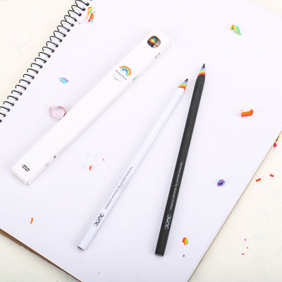 Set of 2 Black and White Rainbow Pencil Drawing Painting Pencils Stationery Hot