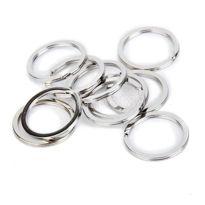100 Nickel Plated Metal Flat Split Loop Key Rings Keychain Findings DIY 30mm