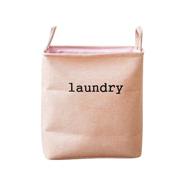 Cotton-Linen Storage Basket Laundry Bin Nursery Toys Clothes Sundries Pink L