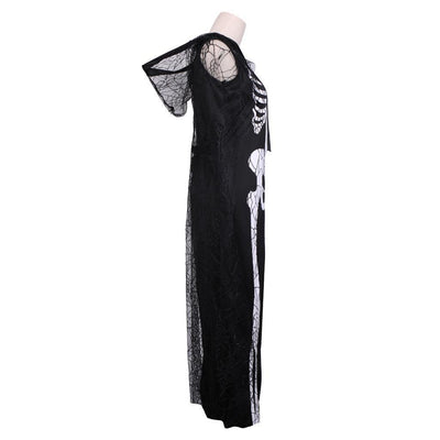 Lady Halloween Skeleton Dress Cloak Costume Day Of The Dead Fancy Dress