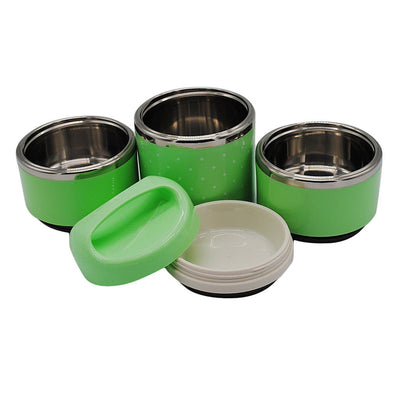 3 Tier Stainless Steel Thermal Insulated Stackable Lunch Box Bento Green
