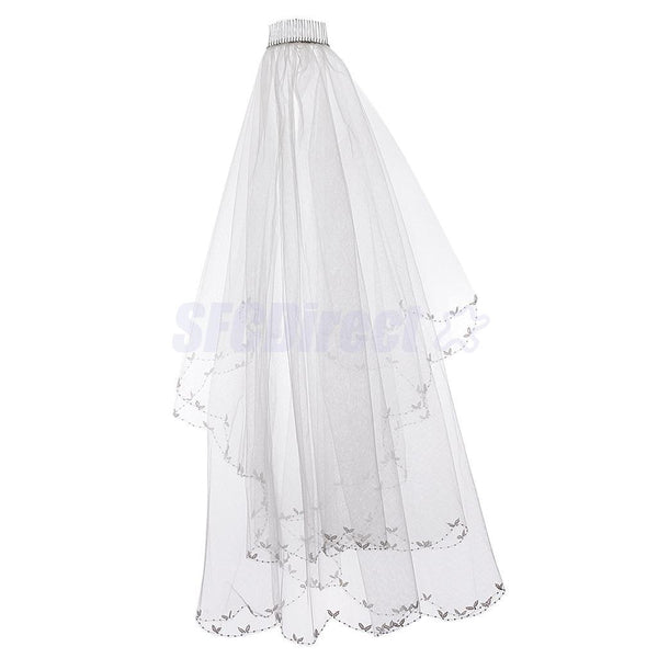 2T Bridal Wedding Veil With Comb Cathedral Applique Edge Floral Bride To Be