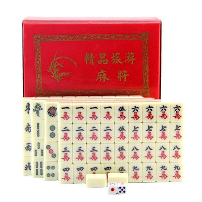 Set of Portable Mahjong Chinese 144 Tile Mah-Jong Board Game Set In Case Box