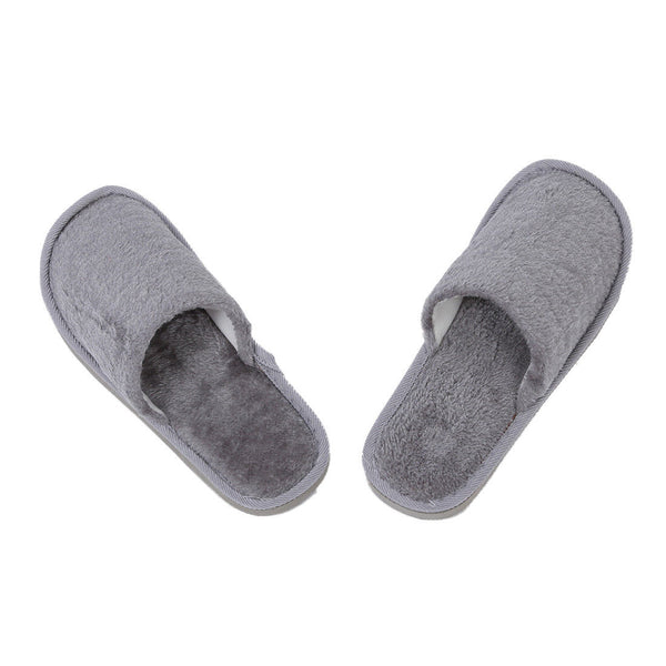 Men Gray Fleeces House Winter Warm Slippers UK 8.5 for Feet Length 27 cm U8 U0W2