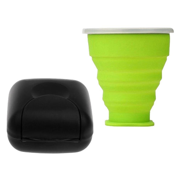 1 Piece Travel Soap Box Holder + 1 Piece Silicone Camping Folding Cup