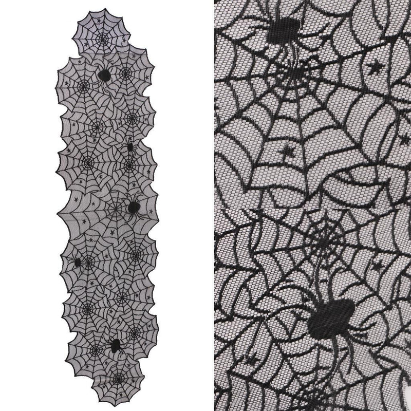 Classic Halloween Bat Spider Spiderweb Table Runner Curtain Party Decoration