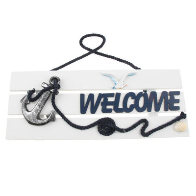 """ Welcome"" Wooden Sign Beach Ocean Nautical Seaside Theme Bar Shop Decor #3"