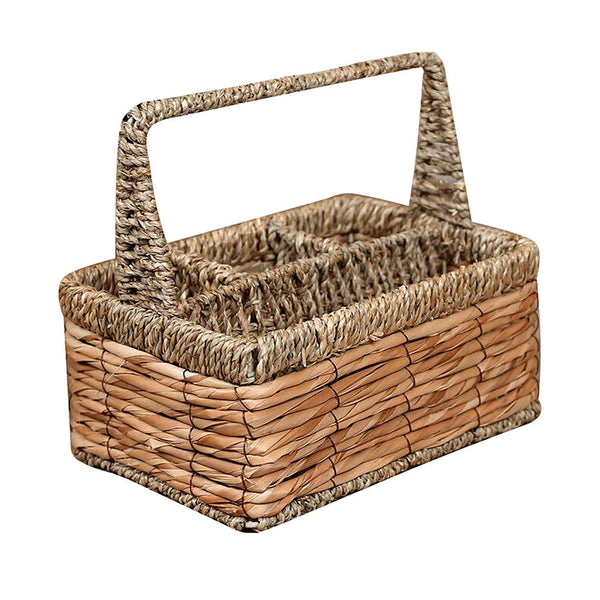 4 Compartment Rattan Condiment Storage Holder Caddy Basket with handle