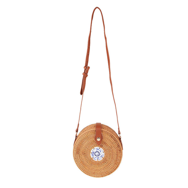 Women Handmade Round Rattan Straw Bag Crossbody Handwoven Tile Embellish