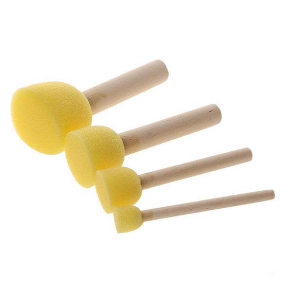 4pcs Kids Foam Sponge Brushes Wooden Handle Painting Drawing Crafts