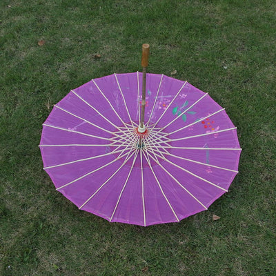2pcs Set Handmade Chinese Cloth Floral Umbrella Wedding Dance Prop