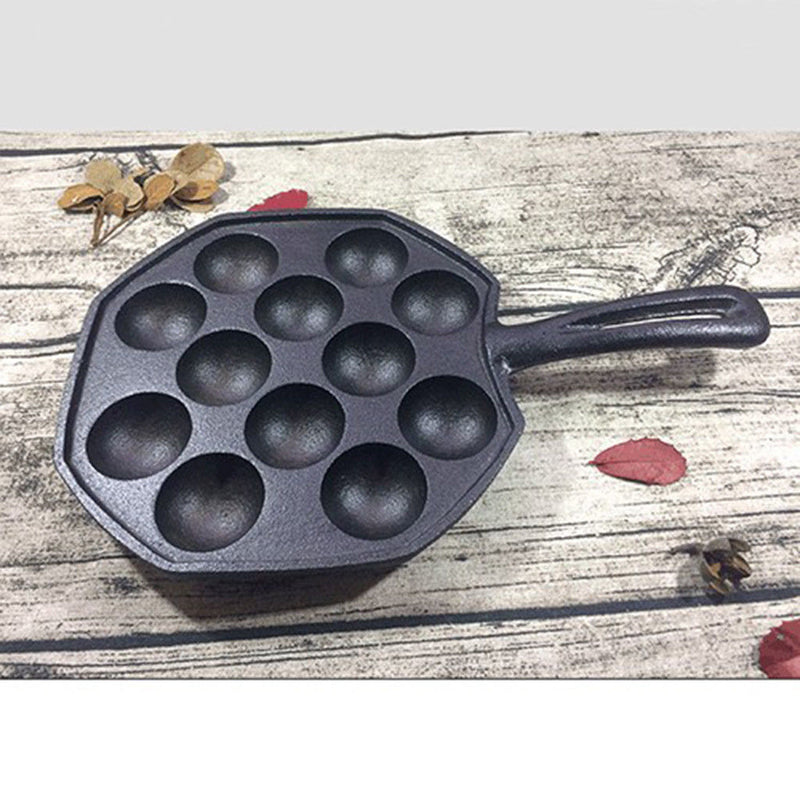 Octopus Ball Frying Pan FishBalls Stovetop Skillet Griddle Kitchen BBQ Black