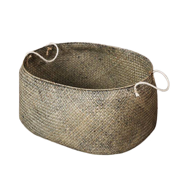 Seagrass Belly Basket Storage Plant Pot Nursery Laundry Room Decor Gray L